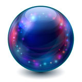 Magic ball. Blue sphere with multicolored glowing elements stock illustration