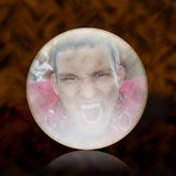 Magic Ball. Magic crystal ball showing the evil vampire Royalty Free Stock Photography