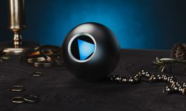 Magic ball fortune teller on table and next to occult devices, 3d rendering. Magic ball fortune teller on table and next to occult devices and blue walls, 3d stock illustration