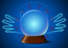 Magic ball with hands and zodiac signs Royalty Free Stock Photography