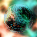 Magic ball of light with glowing green and orange raysster pattern with geometric motifs. Glowglobe on a blurred background royalty free illustration