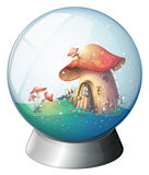 A magic ball with a mushroom house Royalty Free Stock Photo