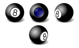 Magic 8 ball oracle. Magic black eight ball oracle in different views royalty free illustration
