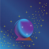Magic Ball. On a purple-blue background with stars Royalty Free Stock Images