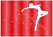 Magic ballet postcard vector. Magic ballet on red background vector Royalty Free Stock Image