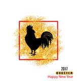 Magic Banner with Rooster as Symbol Chinese New Year 2017, Stock Photos