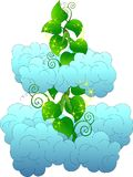 Magic beanstalk among fluffy clouds royalty free illustration
