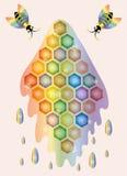Magic bees and honey. Illustration. Vector stock illustration