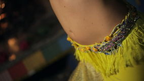 Magic belly dance from beautiful brunette, close-up shot. stock video