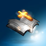 Magic Bible. The magic bible book with lighting gold cross Royalty Free Stock Images