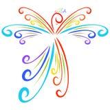 Magic bird of colored curls, rainbow pattern stock illustration