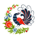 Magic bird flowers and plants for Greeting card Stock Image