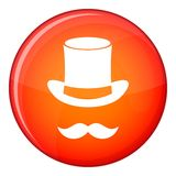Magic black hat and mustache icon, flat style Stock Image