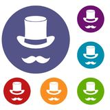 Magic black hat and mustache icons set Royalty Free Stock Images
