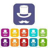 Magic black hat and mustache icons set Royalty Free Stock Image