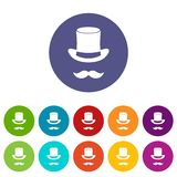 Magic black hat and mustache set icons Stock Image