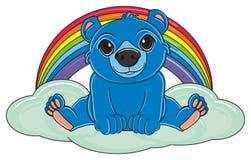 Magic blue bear. Blue bear sit top on the cloud next to the rainbow Stock Photos