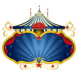 Magic blue circus frame. A circus frame with a big top and a large copy space with curtains for your message Stock Images