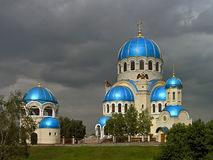 Magic Blue Domes of Holy Trinity Cathedral Under Grey Skies Royalty Free Stock Images
