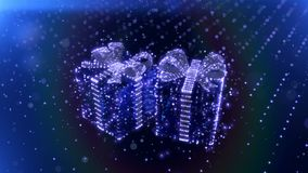 Magic blue neon Christmas gifts with bokeh particles background. 3D render. stock video footage