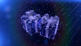 Magic Blue Neon Christmas gifts with bokeh particles background. Seamless loop. 3D render. stock video footage