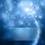 Magic blue New Year celebration copy space background. Blue color New Year and Christmas celebration copy space illustration background with fireworks, blurred Stock Photography