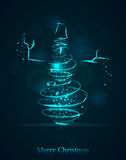 Magic blue winter Snowman. Glowing spiral trace with shined dus. T. New Year & Christmas vector illustration vector illustration