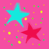 Magic bokeh colorful  star on a pink background Royalty Free Stock Image