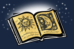 Magic Book. An open magic book in a magic night stock illustration