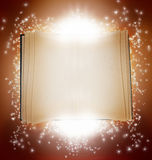 Magic book. A magic book with bright lights and stars in the background Royalty Free Stock Photos