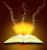 Magic book. Open magic book on a magic background Royalty Free Stock Photos