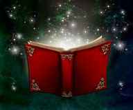 Magic book. With flying shining stars Stock Images