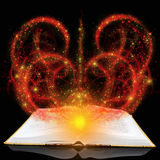 Magic book. With red splashes on a black background stock illustration
