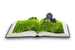 The magic book. The open magic book. The castle in the book Royalty Free Stock Photos