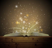 Magic book. Open magic book with the light. Eps 10 Stock Photography