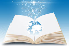 Magic Book. Book With Magic Text On Soft Blue Background Royalty Free Stock Photography