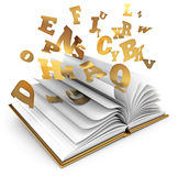 Magic book. Letters flying out of an open book. Magic book. Fairy tale. White background. 3d render Stock Photography
