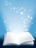 Magic book. Open magic book with flying shining starsThis is the 1600000th image online Stock Image