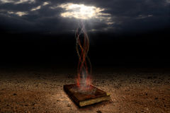 The Magic book. Ancient and mysterious magical book Stock Image