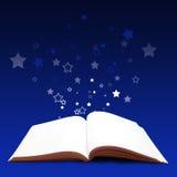 Magic book. Open magic book with stars Stock Photo