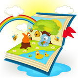 Magic book. animals in the glade Royalty Free Stock Photo
