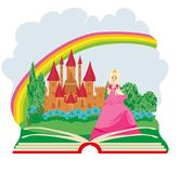 Magic book - Beautiful young queen in front of her castle. Vector Illustration Royalty Free Stock Images
