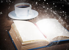 Magic book with blank pages on wooden surface Royalty Free Stock Photos
