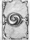 Magic book cover - sketch. Magic book cover made of leather with gems and steel corners. Pencil drawing, sketch royalty free illustration