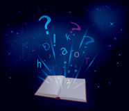 Magic book on dark blue background - vector Stock Image
