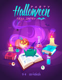Magic book with frog. Halloween cardposter. Vector Royalty Free Stock Image