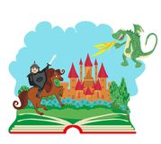 Magic book - Knight fighting dragon. Vector Illustration Royalty Free Stock Photography
