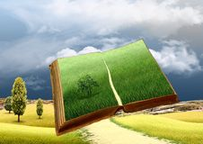 Magic book with a landscape Royalty Free Stock Photos