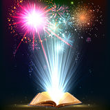 Magic book. Book. Opened magic book with salute. Education Stock Images