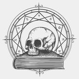 Magic book sketch with skull vector illustration